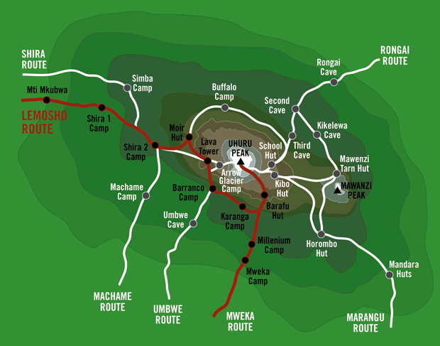 Kilimanjaro lemosho route map
