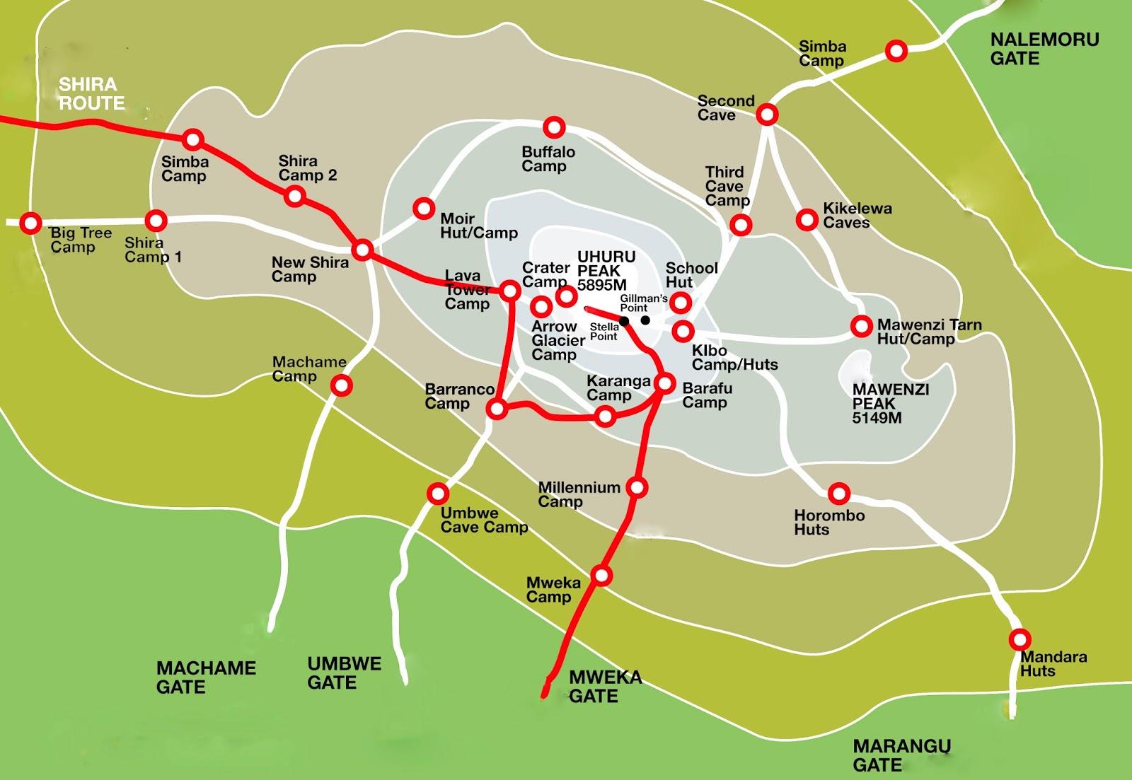 kilimanjaro climbing shira route map